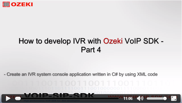 ozeki c sip stack how the create an ivr by using xml code