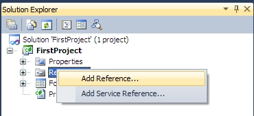 adding a new reference to the project on the Solution Explorer panel