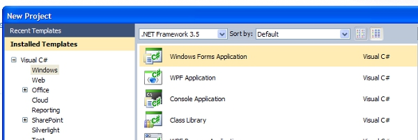 creating a new c sharp windows forms project
