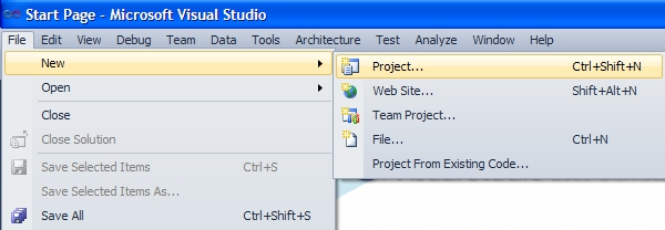 creating a new visual studio project